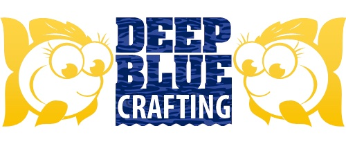 Deep Blue Crafting logo, two yellow fishes either side of blue text